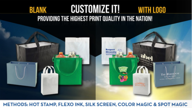 We print shopping bags, gift boxes, and reusable tote grocery sacks with your logo