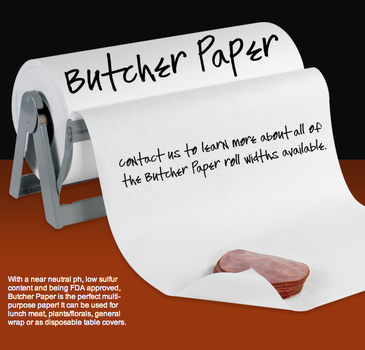 Butcher paperRolls Sheets - FDA approved meat food and deli sandwich wrapping papers white butcher paper rolls and sheets to wrap perishable foods. White butcher paper, meat wrapping patty wrap rolls. Paper roll cutters available.