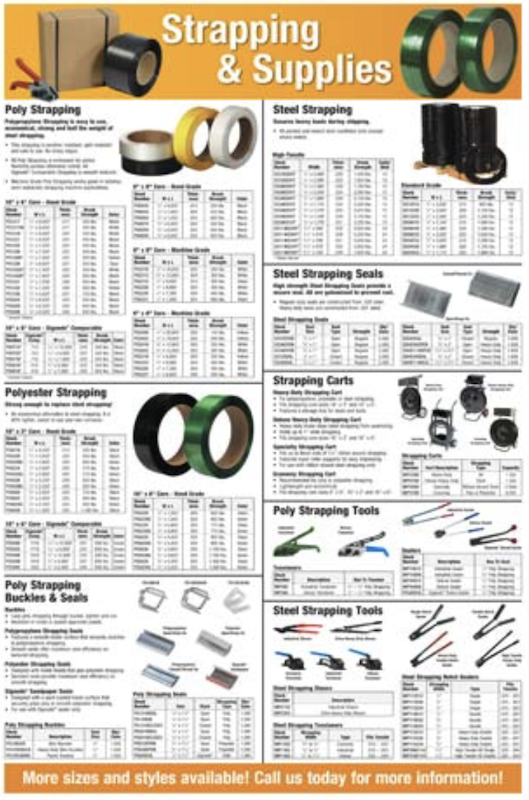 Steel strapping banding materials tools cart and seals to strap down heavy product loads crates