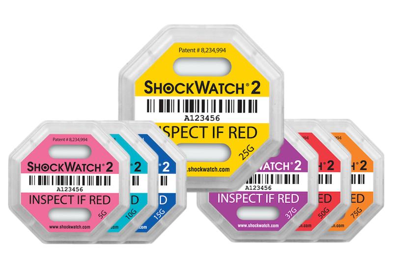 Shockwatch2 yellow red pink blue orange shockwatches shock and vibration indicators