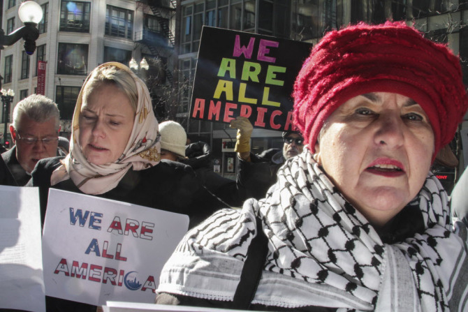 Muslim Solidarity Caroline Cracraft, right, stood outside the Council of Islamic Organization of Greater Chicago in solidarity with the Muslim community. | Maria Cardona: SunTimesjpg.jpg
