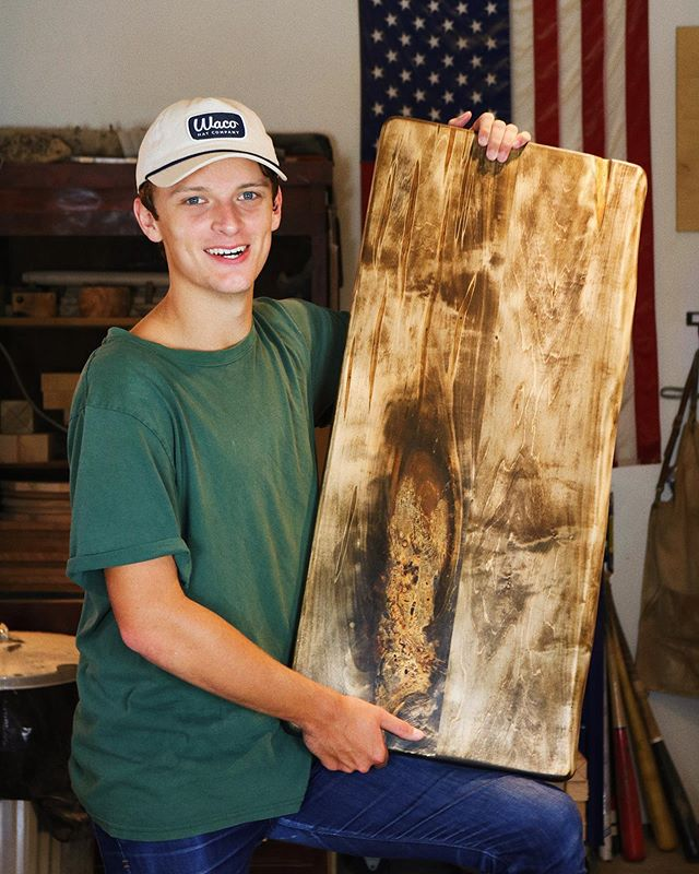 """We're starting off September by making more big boards! This custom serving board measures 16"""" x 36"""" x 1.5"""", and it's a huge hunk of Maple. Came out incredible! Features some awesome grain structures and a weathered texture! 🍁  Check out @wacohatcompany if you need a new cap to add to your collection! We love their stuff and we're always repping them in the shop! 🔥 • • • • • • #woodworking #woodturning #woodcraft #wood #maple #kitchen #kitchenware #models #photomodels #catwalk #hats #wacohatco #wacohatcompany #shopmodel"""