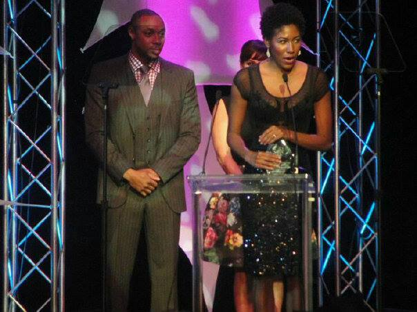"Accepting NAACP Award for ""Best Lead Actress""."