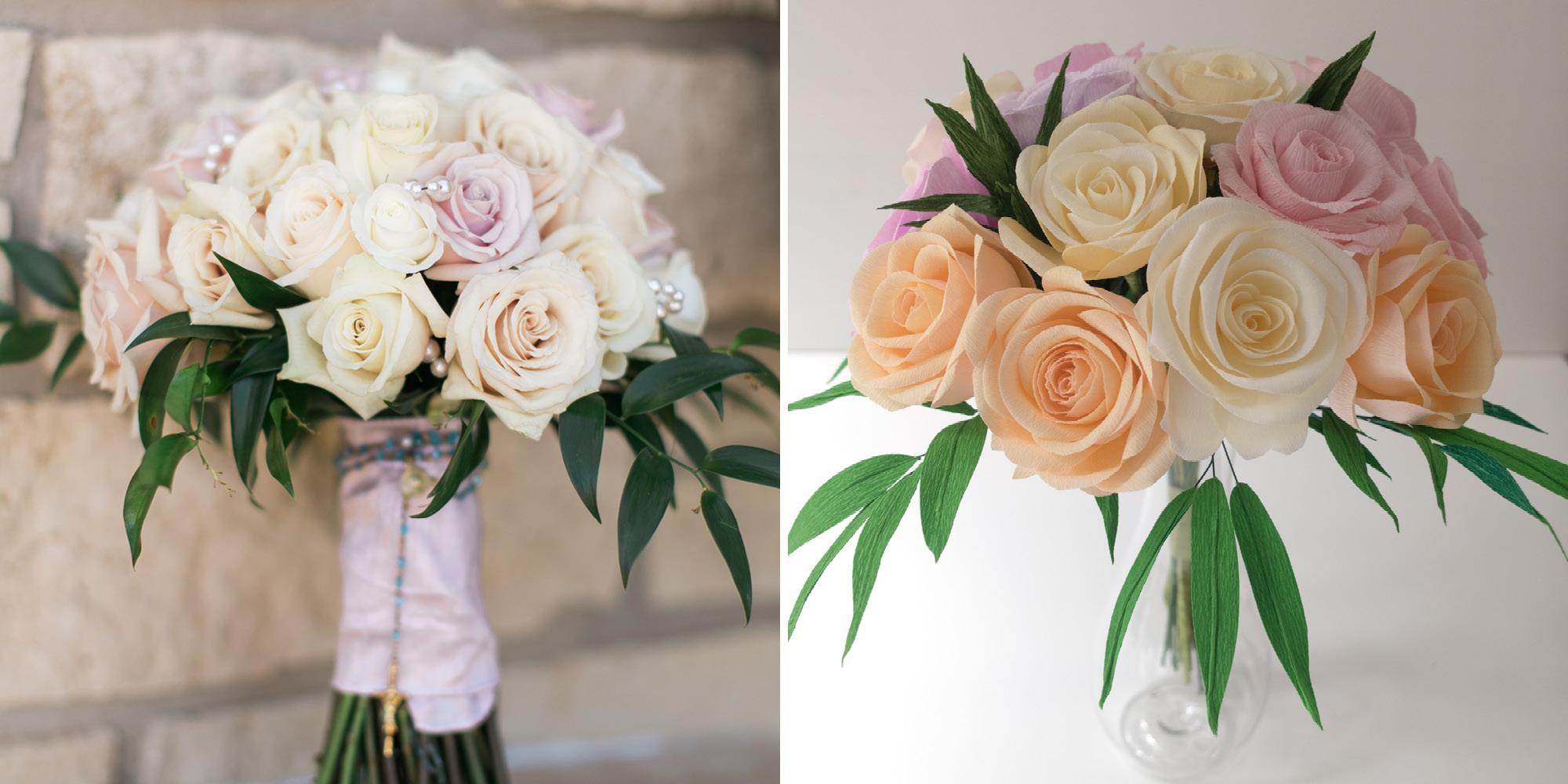 Katie & Leo's Paper Anniversary Bouquet Comparison Paper Rose Co.