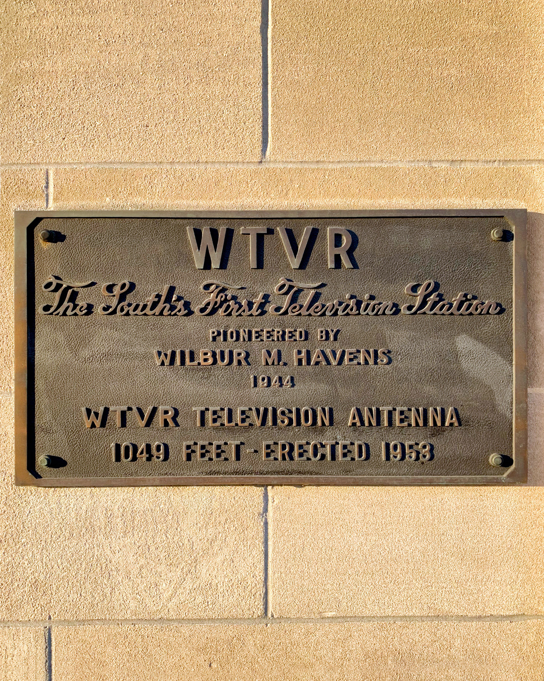 I love this plaque—and now we know how tall the antenna is!