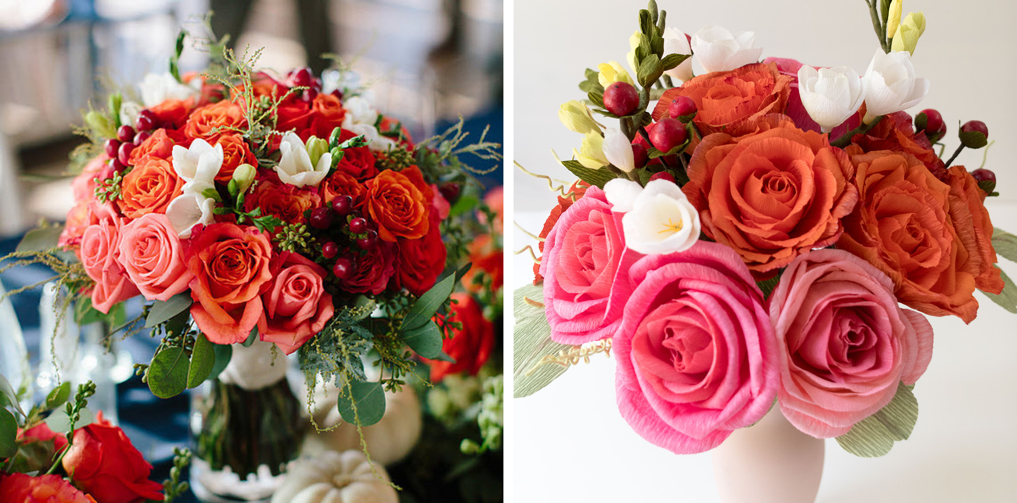 Paper Rose Co Wedding Bouquet Recreation Before & After