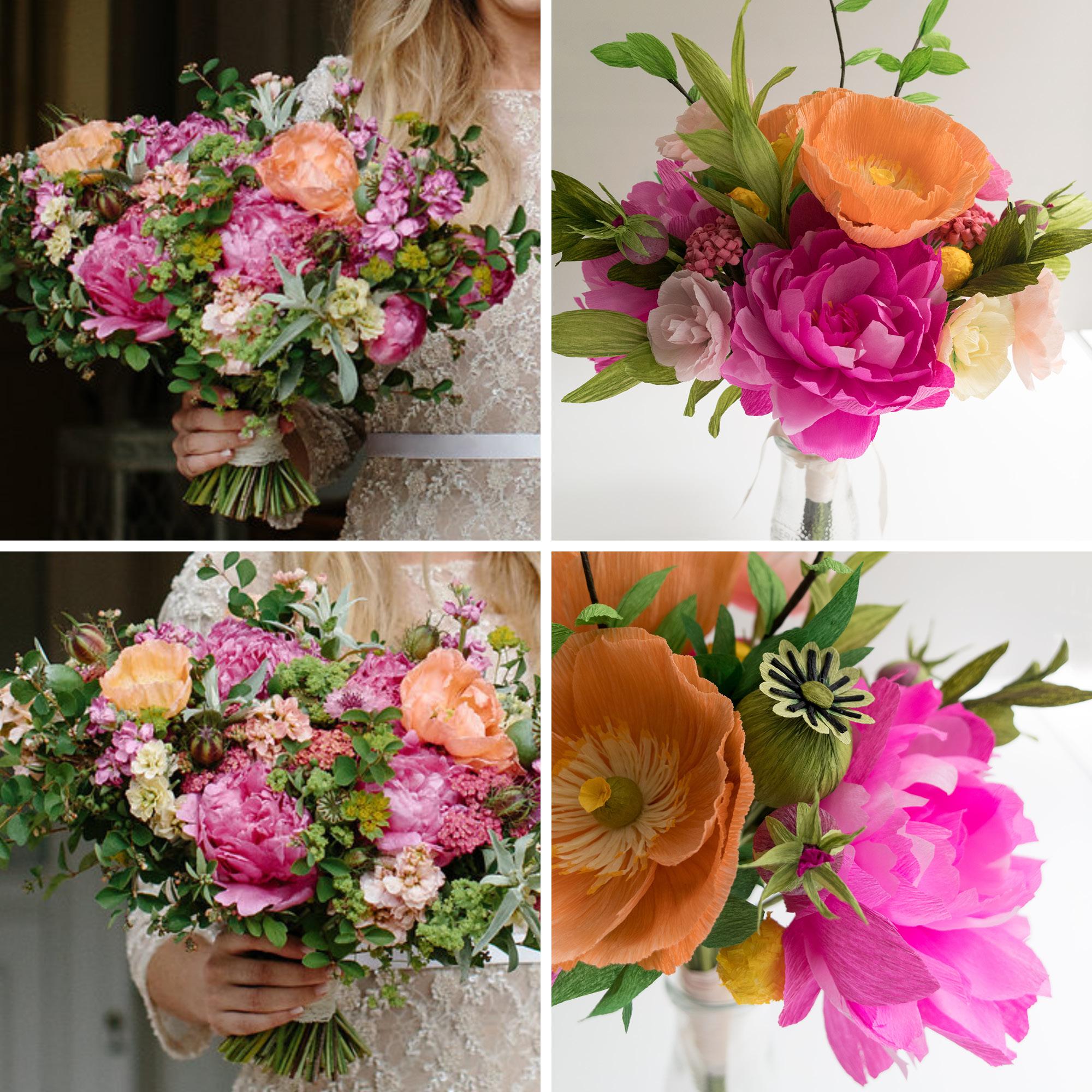 Paper Rose Co Wedding Bouquet Recreation Sam Comparison