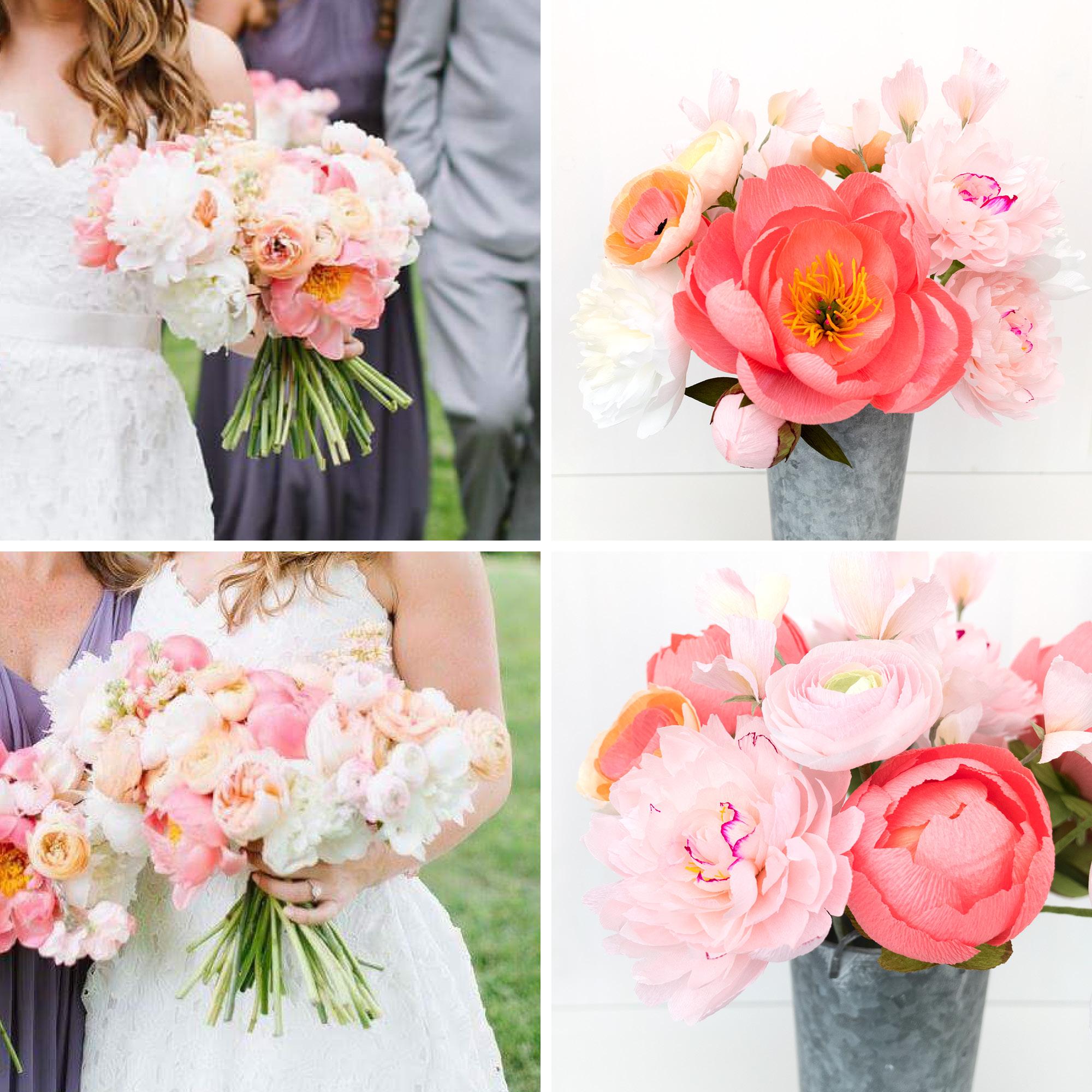 Paper Rose Co Wedding Bouquet Recreation Comparison