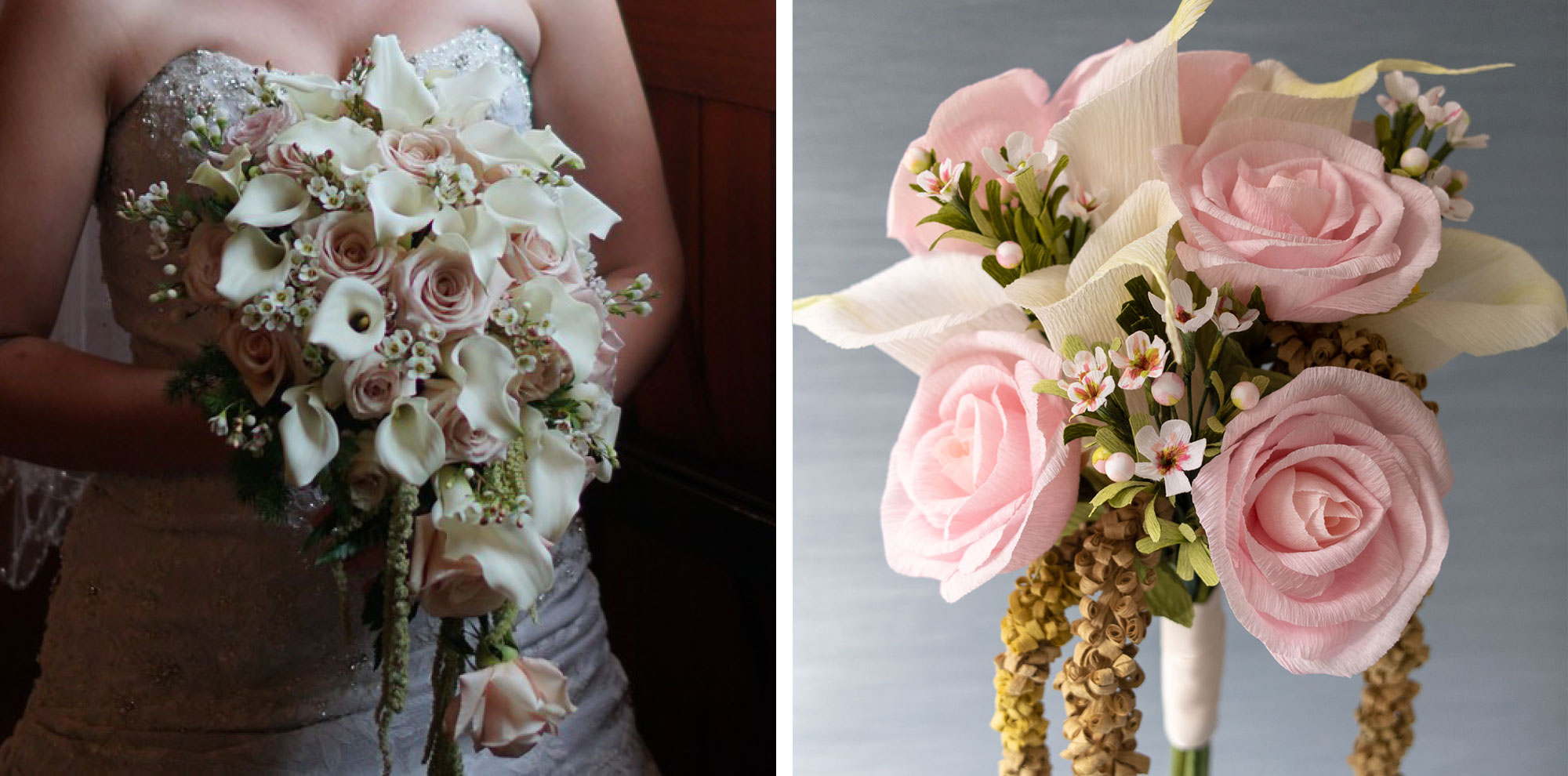 Paper Rose Co wedding bouquet replica comparison