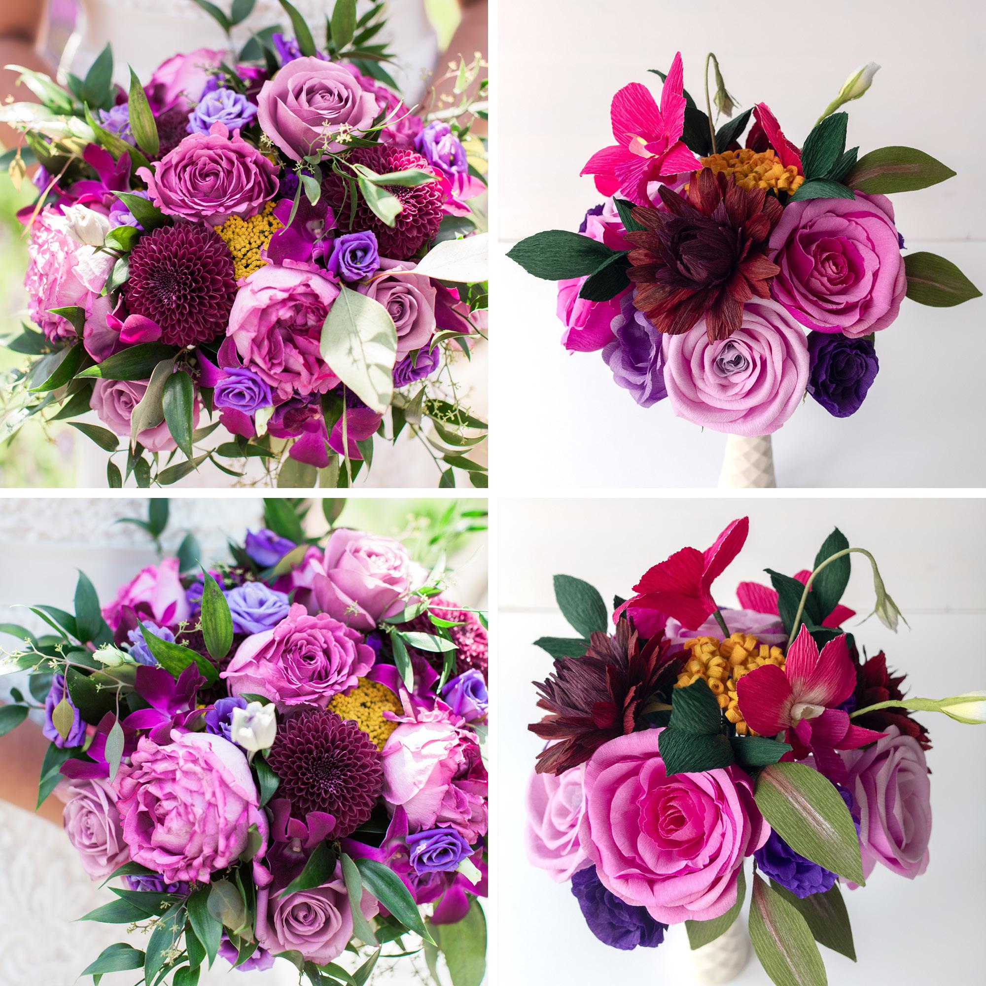 Paper Rose Co. Wedding Bouquet Recreation Comparison