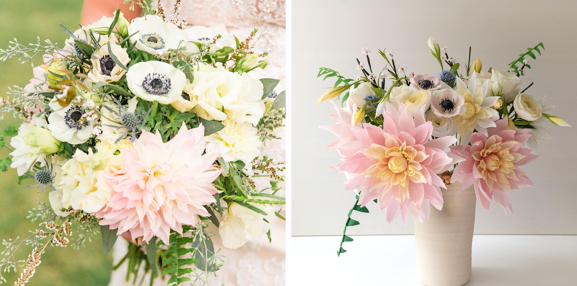 Paper Rose Co. Wedding Bouquet Recreation Comparison 1