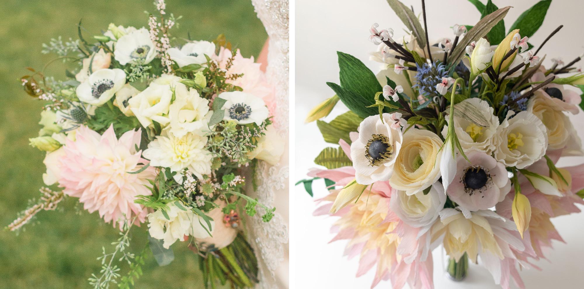 Paper Rose Co. Wedding Bouquet Recreation Comparison 2