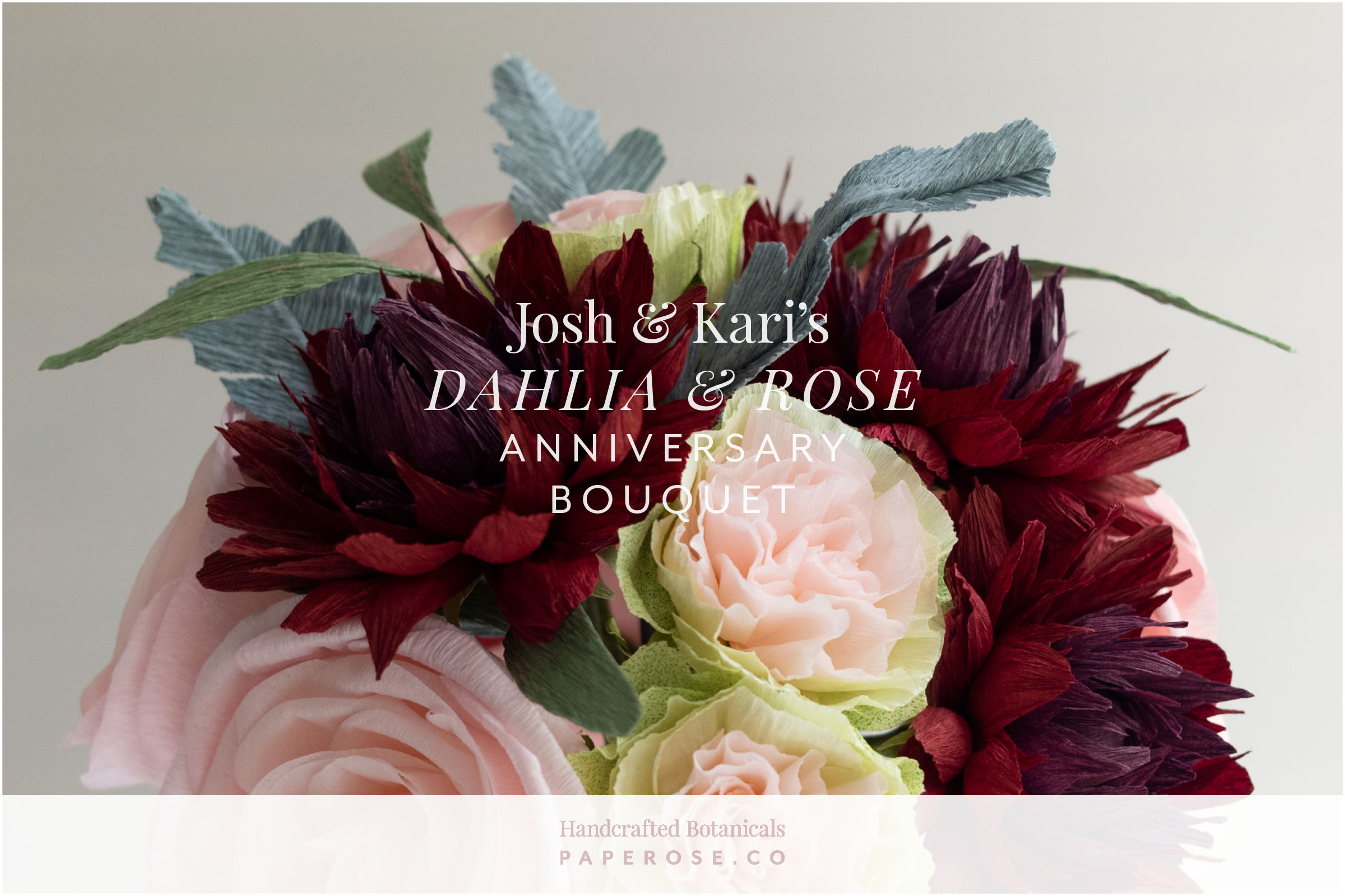 Paper Rose Co. Paperversary Wedding Bouquet Recreation Josh & Kari