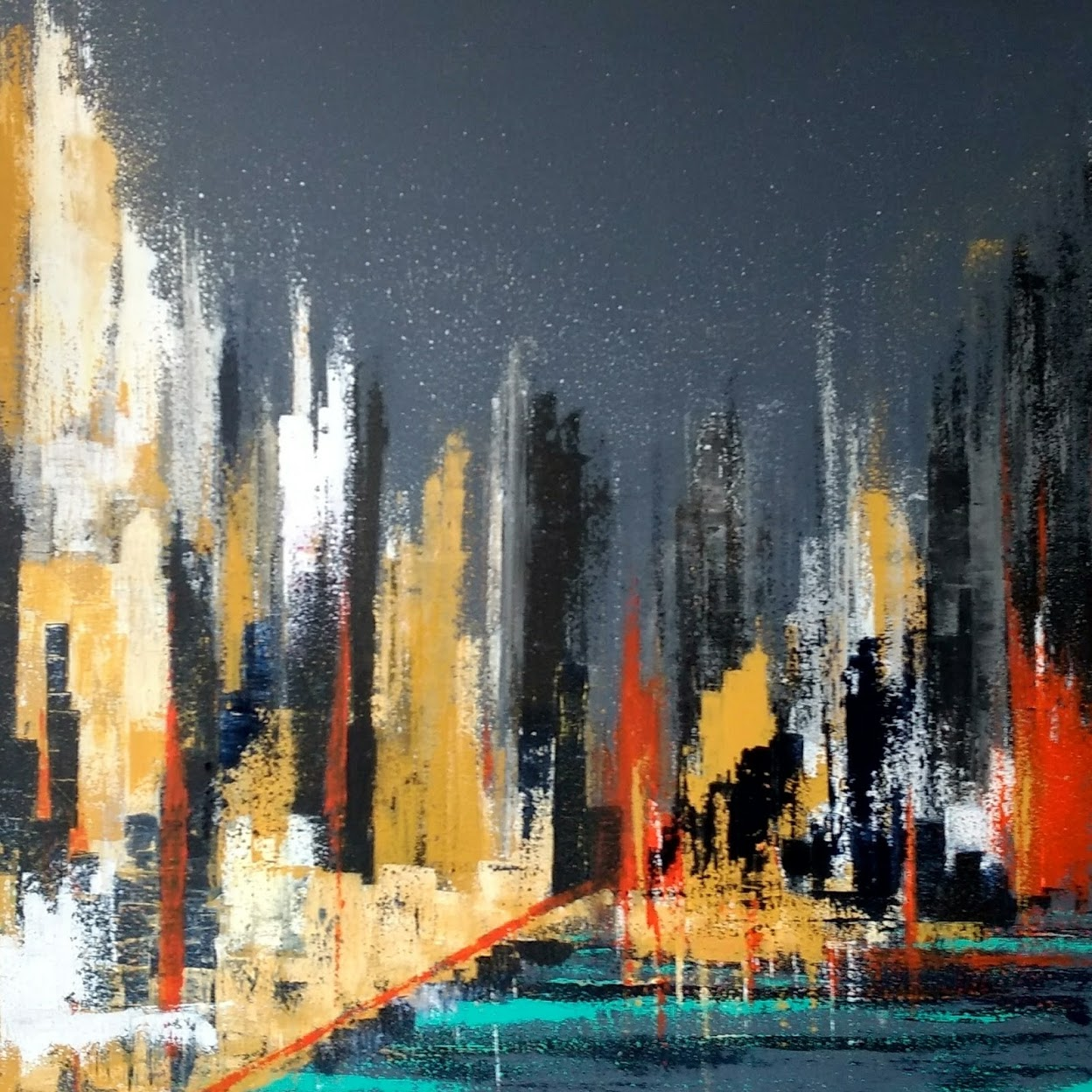 "City at Night SOLD  36"" x 36"" Acrylic on Canvas"