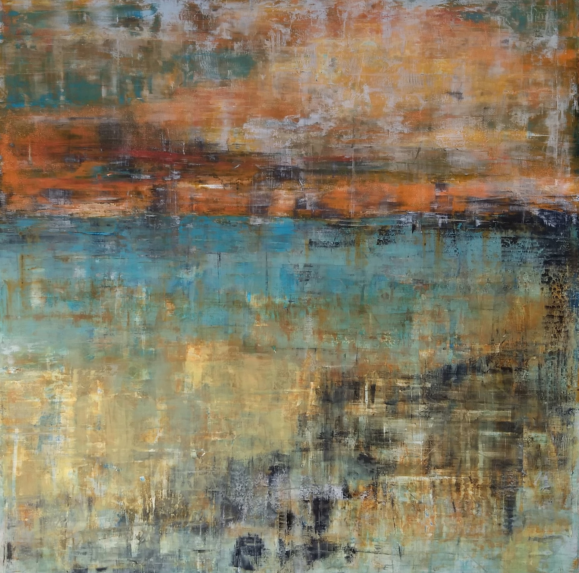 "Vermillion Skies SOLD  24 x 24"" oil and wax on 2"" deep wood panel"