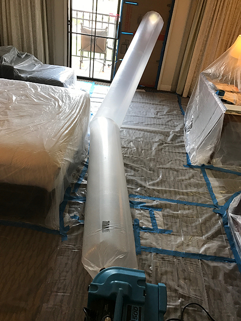 Setting up Containment in a guest room with negative air
