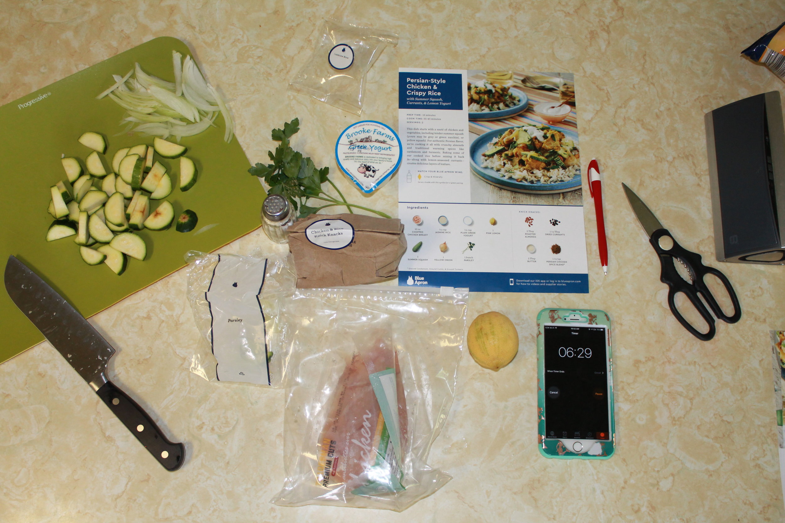 Pre-prep set up! I liked that all the ingredients were in one place and it was easy to carry around the recipe guide and grab the items from their respective spots of the house.