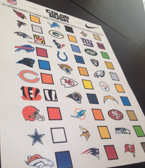 The supposed list of colors that teams will wear during the NFL's Color Rush