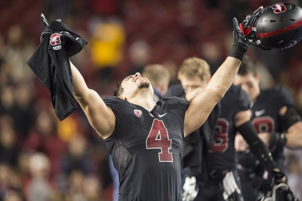 Blake Martinez won two Rose Bowls during his tenure with Stanford, including 2012's contest against the Wisconsin Badgers.
