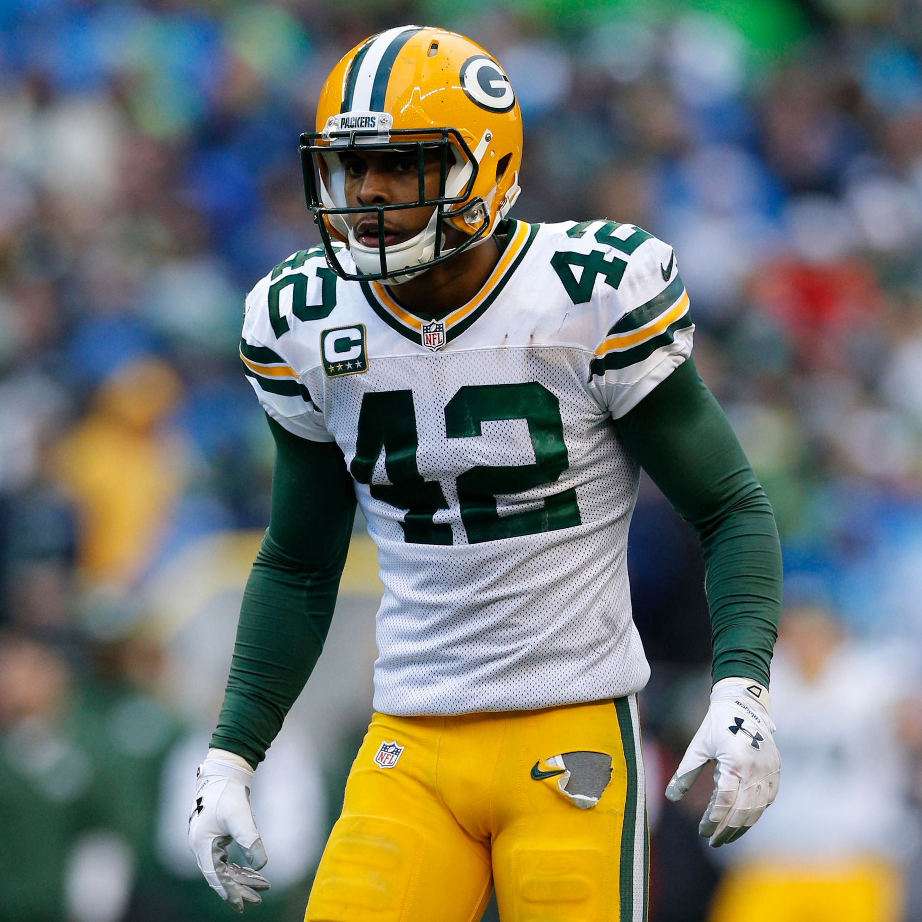 The Packers have experimented with lining Morgan Burnett in the box as a linebacker-ish safety.