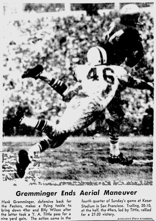 The Packers wore solid white road uniforms in 1957 and 1958. This is a shot from the 1957 season.