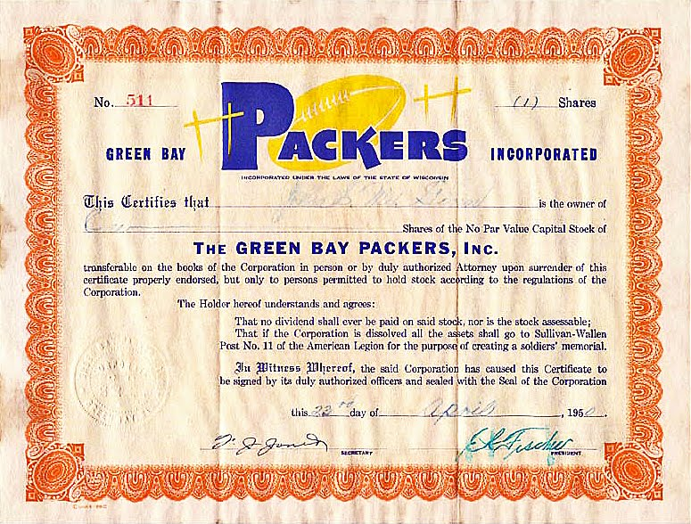 The Packers have issued several different stock certificates. This one was issued in 1950.