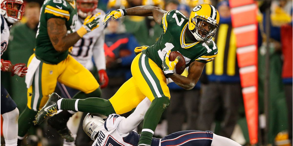 As a rookie, Davante Adams posted his first career 100-yard game in the Packers' 2014 game against the Patriots.