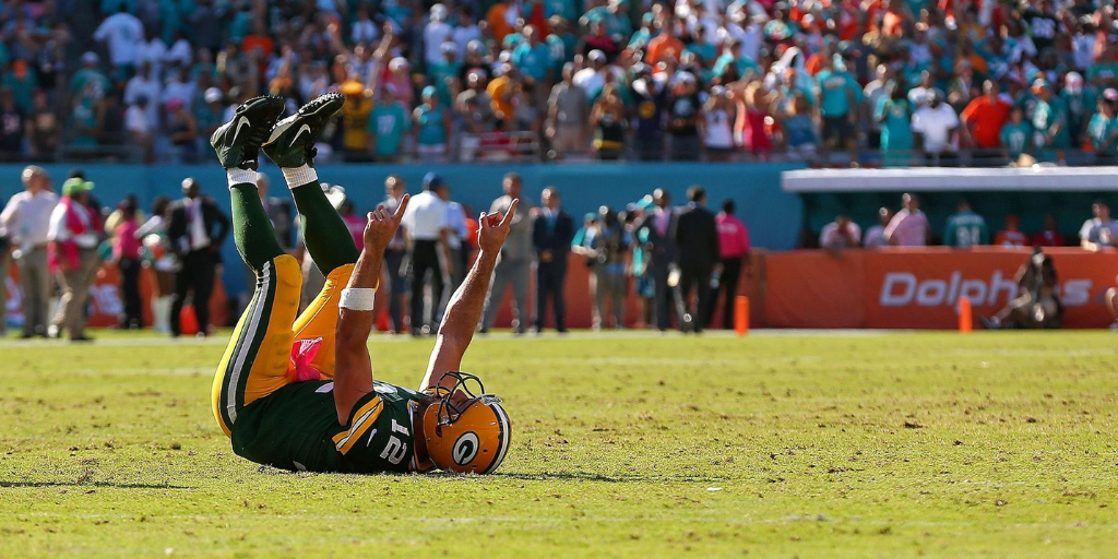 Aaron Rodgers had a non-typical celebration of the Packers' 2014 win over the Miami Dolphins.