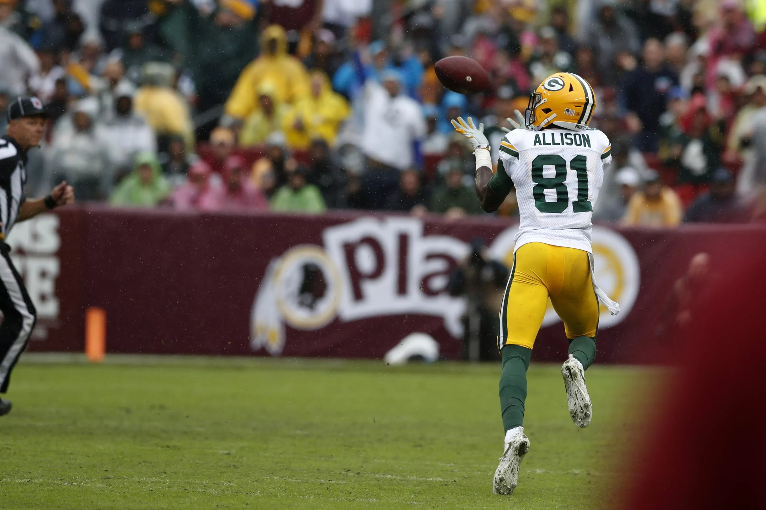 Explosive plays on offense, like this touchdown catch by  Geronimo Allison  in Week 3's loss to the Redskins, increased for the Packers in 2018.