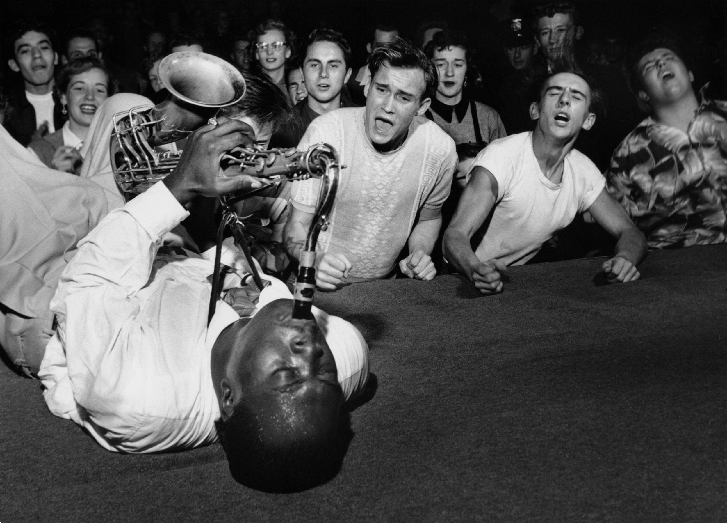 A famous photo of Big Jay McNeely by Bob Willoughby