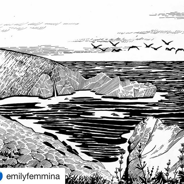Pretty stoked on this progress image from the amazing artist @emilyfemmina for a composition we are putting together for an interp panel representing our beloved Esselen community, at a California State Park down in Big Sur.... More soon!
