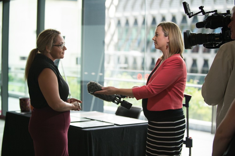 Lisa Whop interviewed by ABC Television