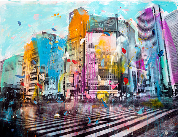 - Tokyo #4Archival print on 300gsm Hahnemuhle paper, hand-coloured, mounted on diabond and resin coated.90cm x 90cm