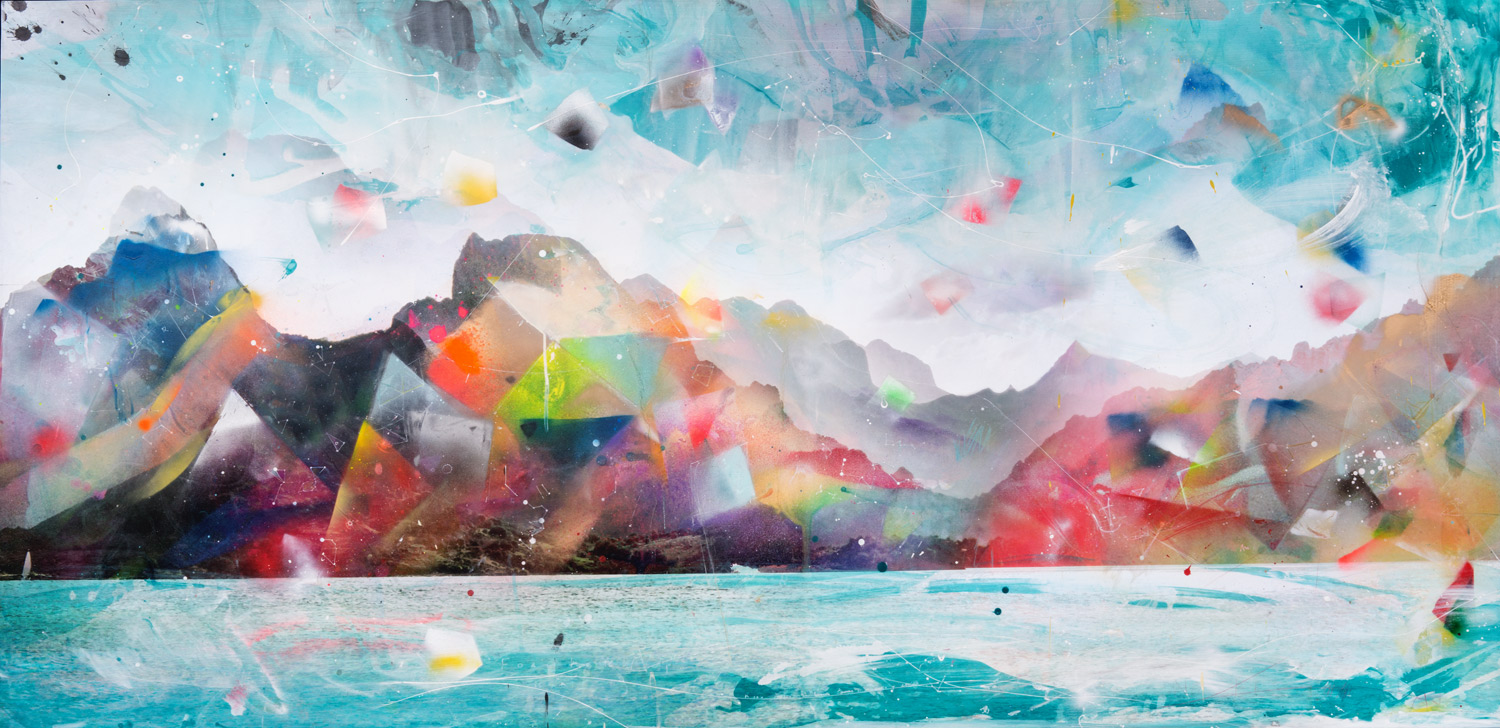- Canto ErranteArchival Pigment print on 300gsm Hahnemuhle paper, hand-coloured with mixed-media, mounted on diabond, resin coated.110cm x 225cm