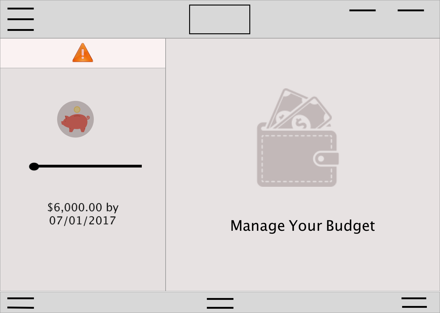 Budget landing page with saving active