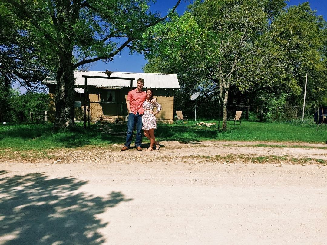 Joel and I at our tiny cottage while Joel worked in Meridian, TX.