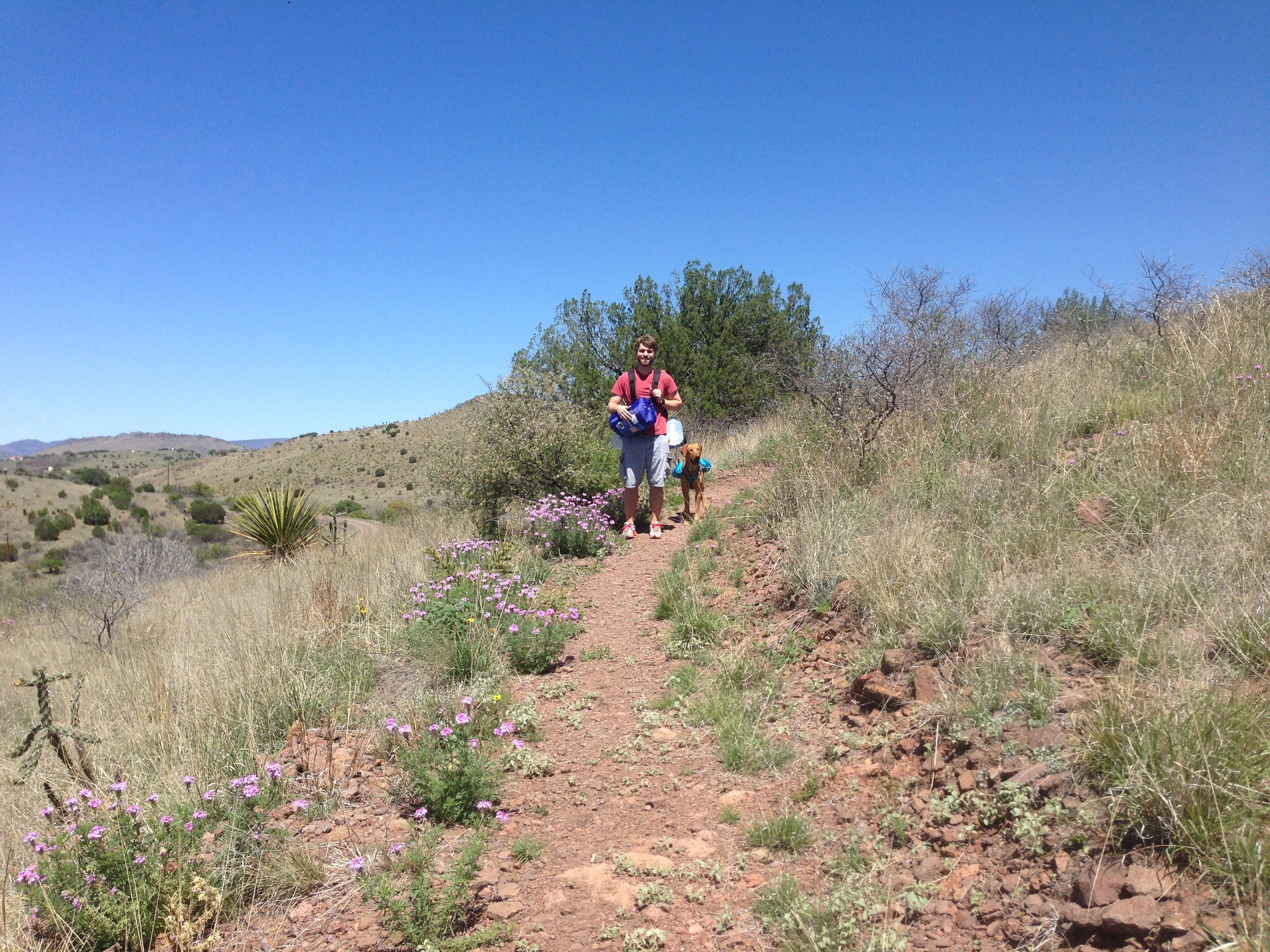 Hiking to our primitive camping spot in Davis Mountains State Park 2015