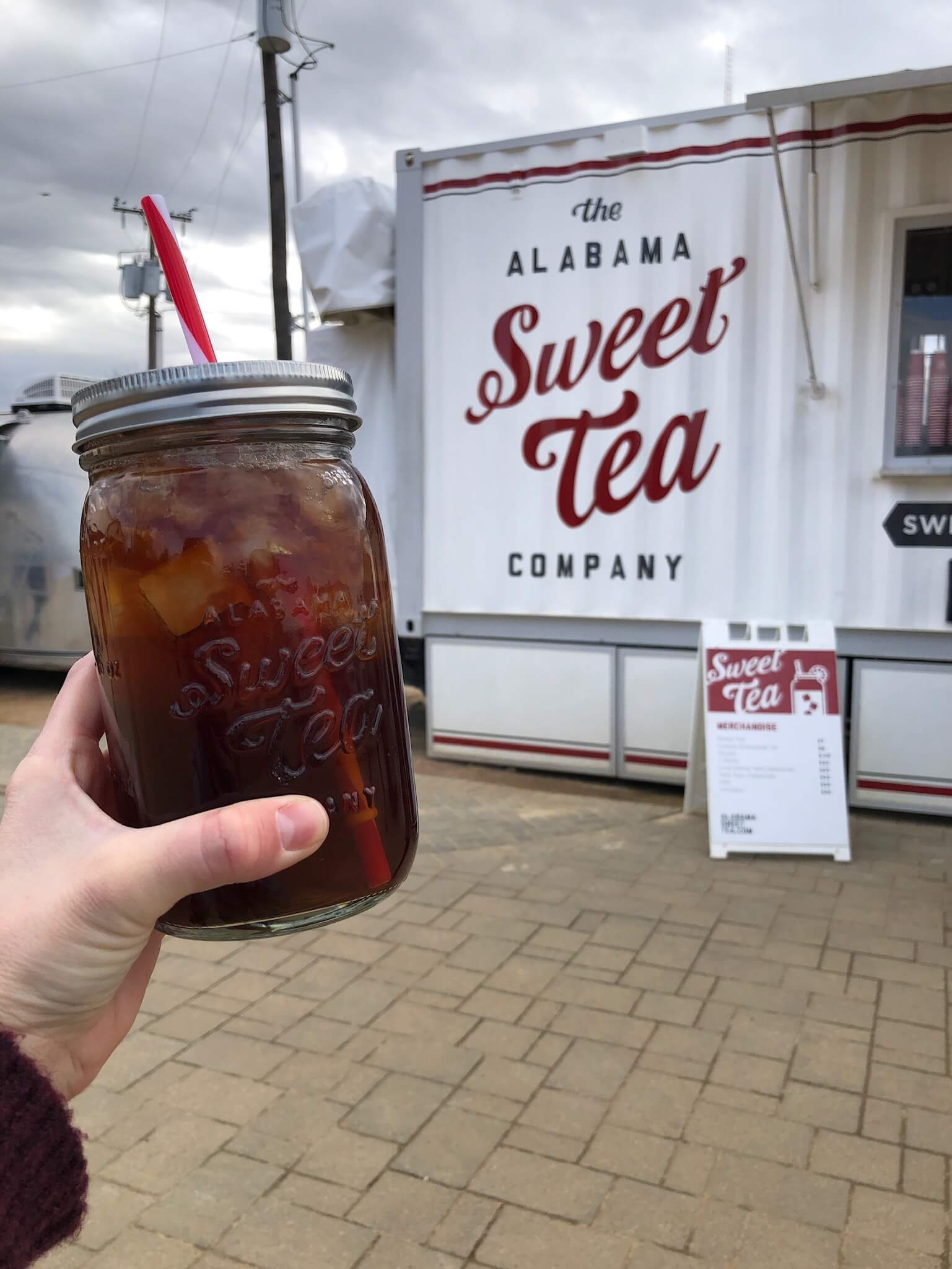 - Don't forget to finish off your sugar-coma with an Alabama Sweet Tea. They're gigantic and perfect in every way. Plus, you get to keep the over-sized mason jar cup it comes in! (I'm currently using mine to hold cotton balls in my bathroom haha)