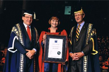 Rosemary VIlgan being awarded an Honorary Doctorate of QUT