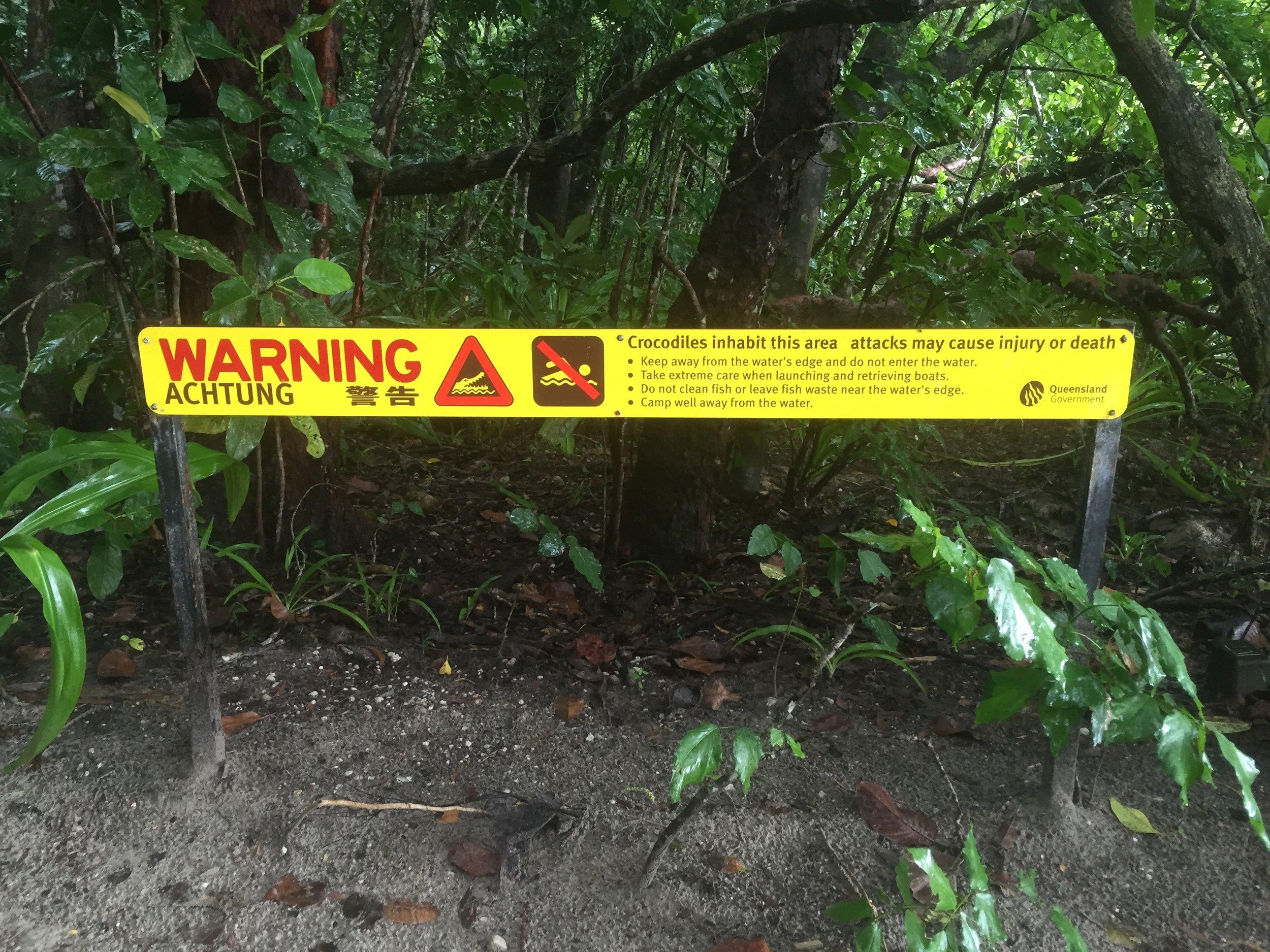 Warning about crocodiles