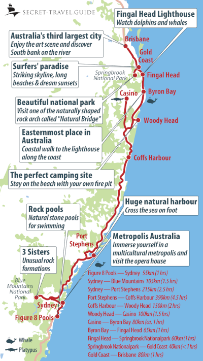 NSW map - from Sydney to Brisbane
