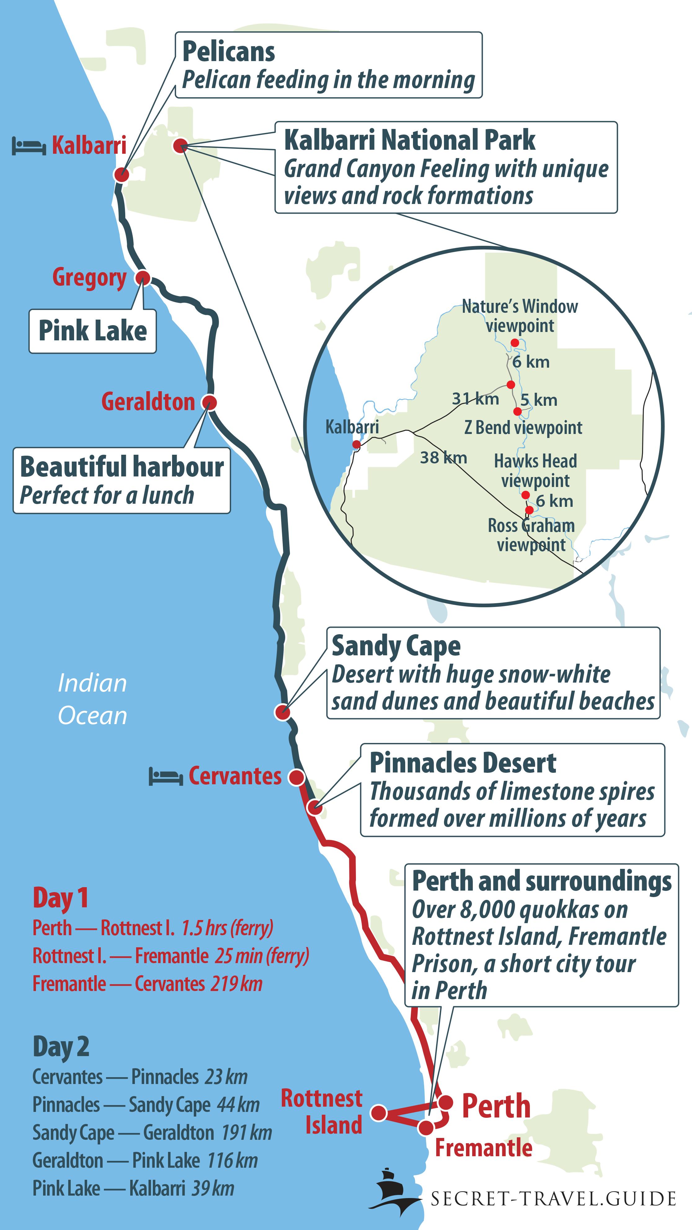 Perth map - Perth to Kalbarri