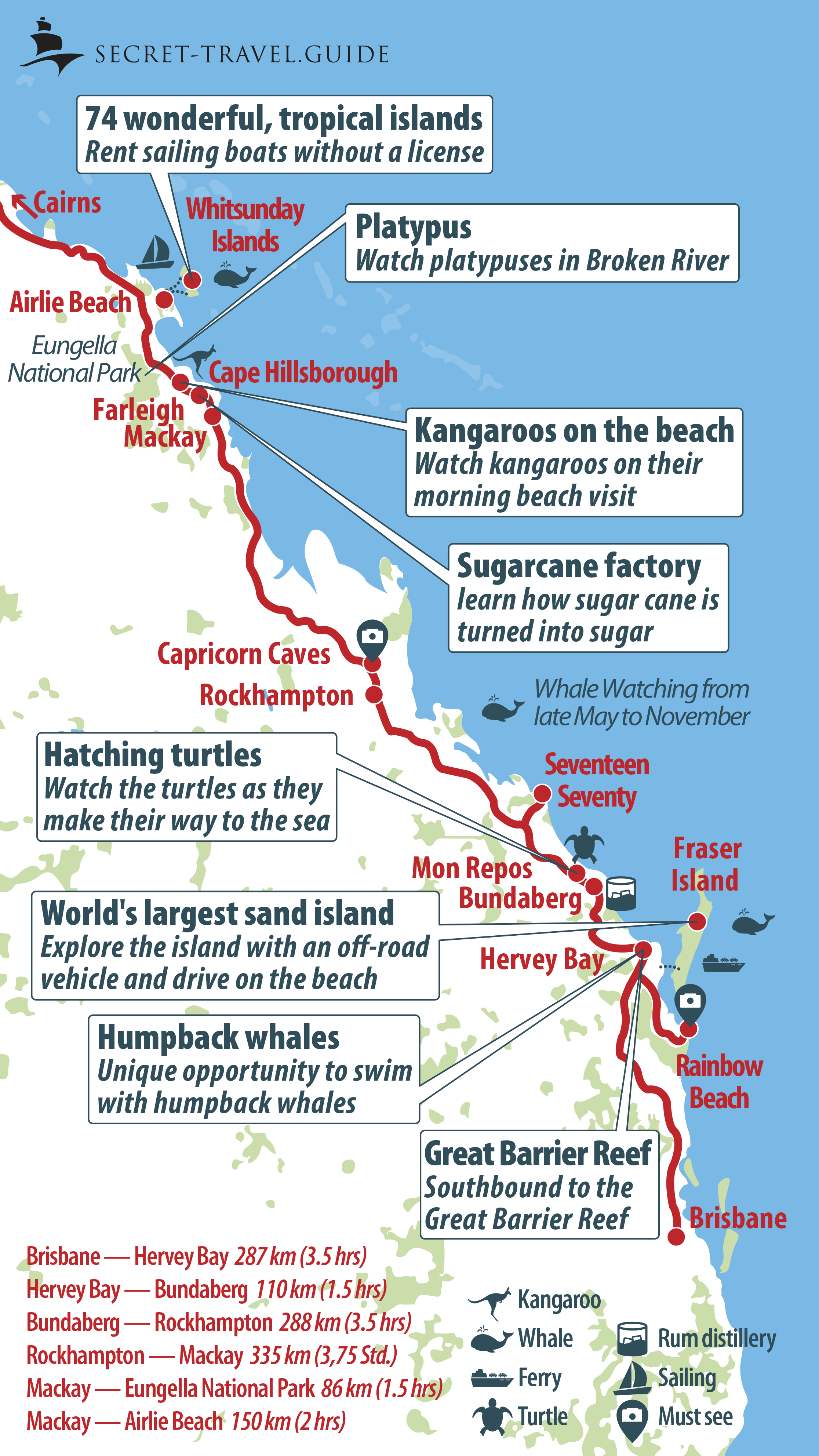 Map of Queensland - Brisbane to Airlie Beach