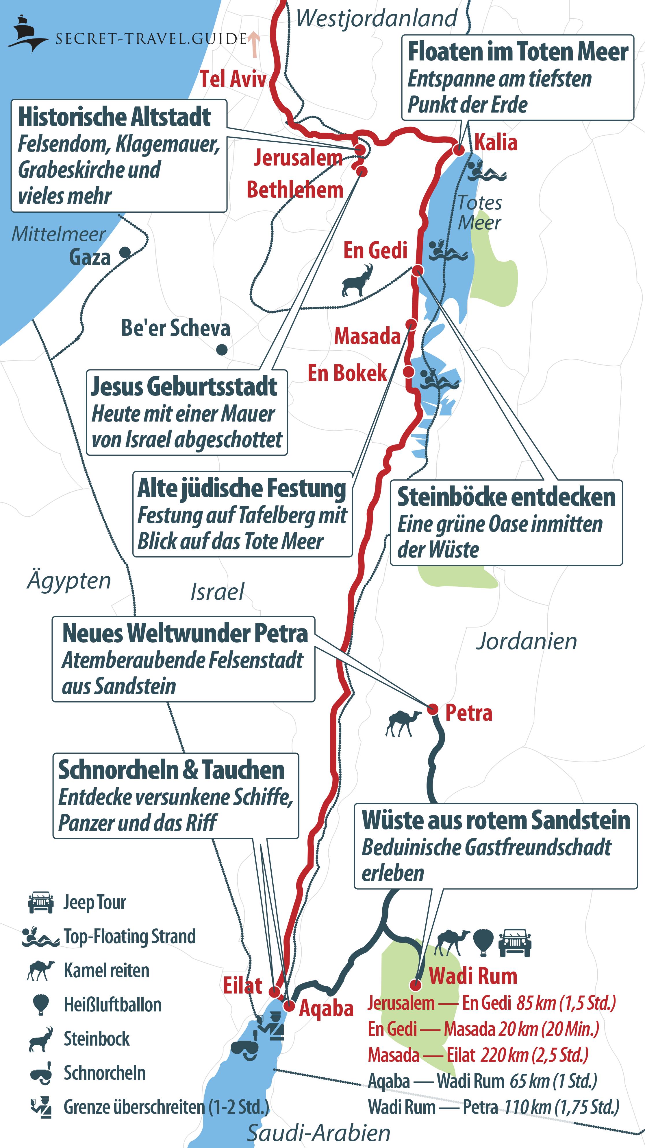 Karte Süden Israels