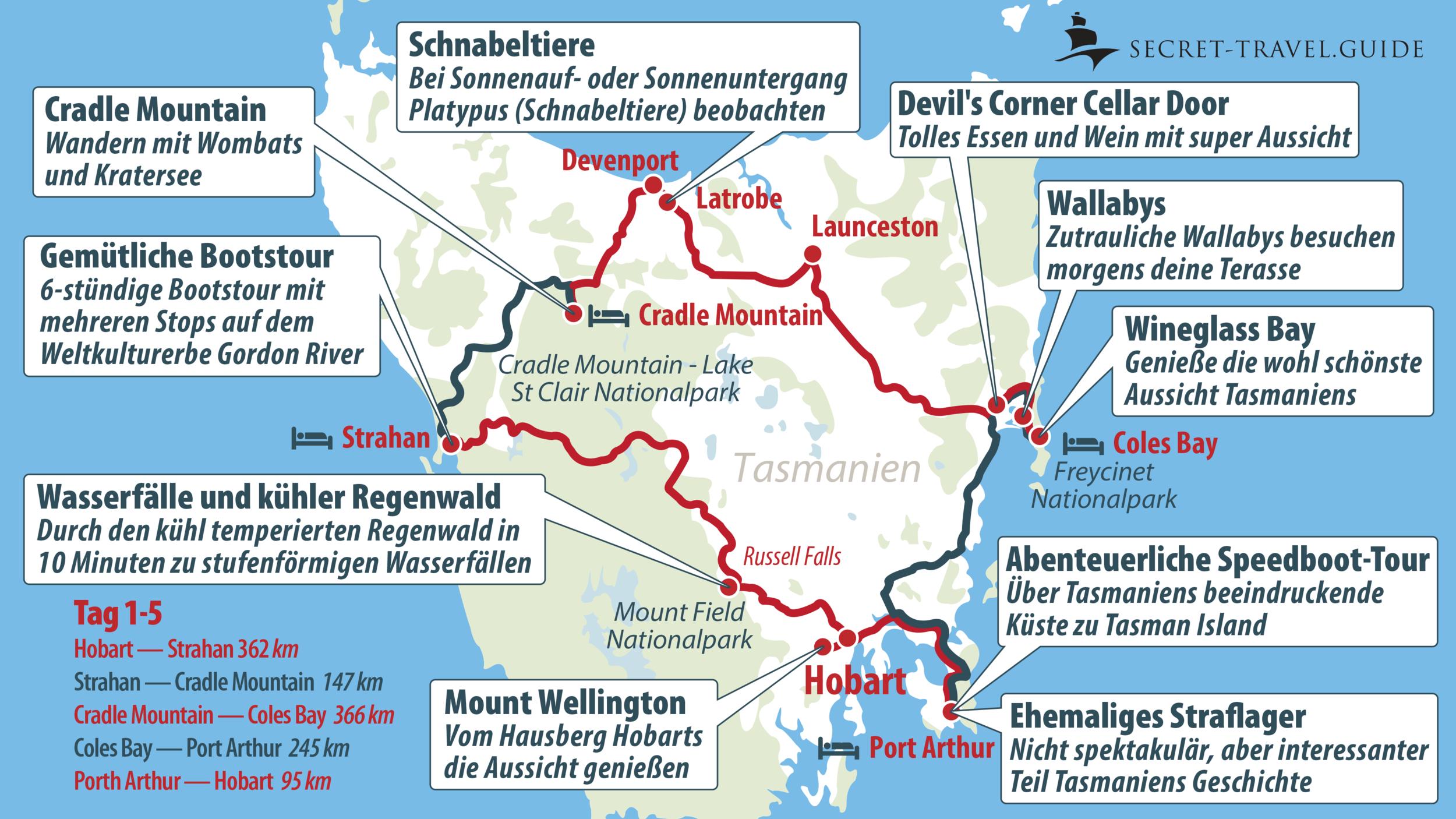 Tasmanien Karte