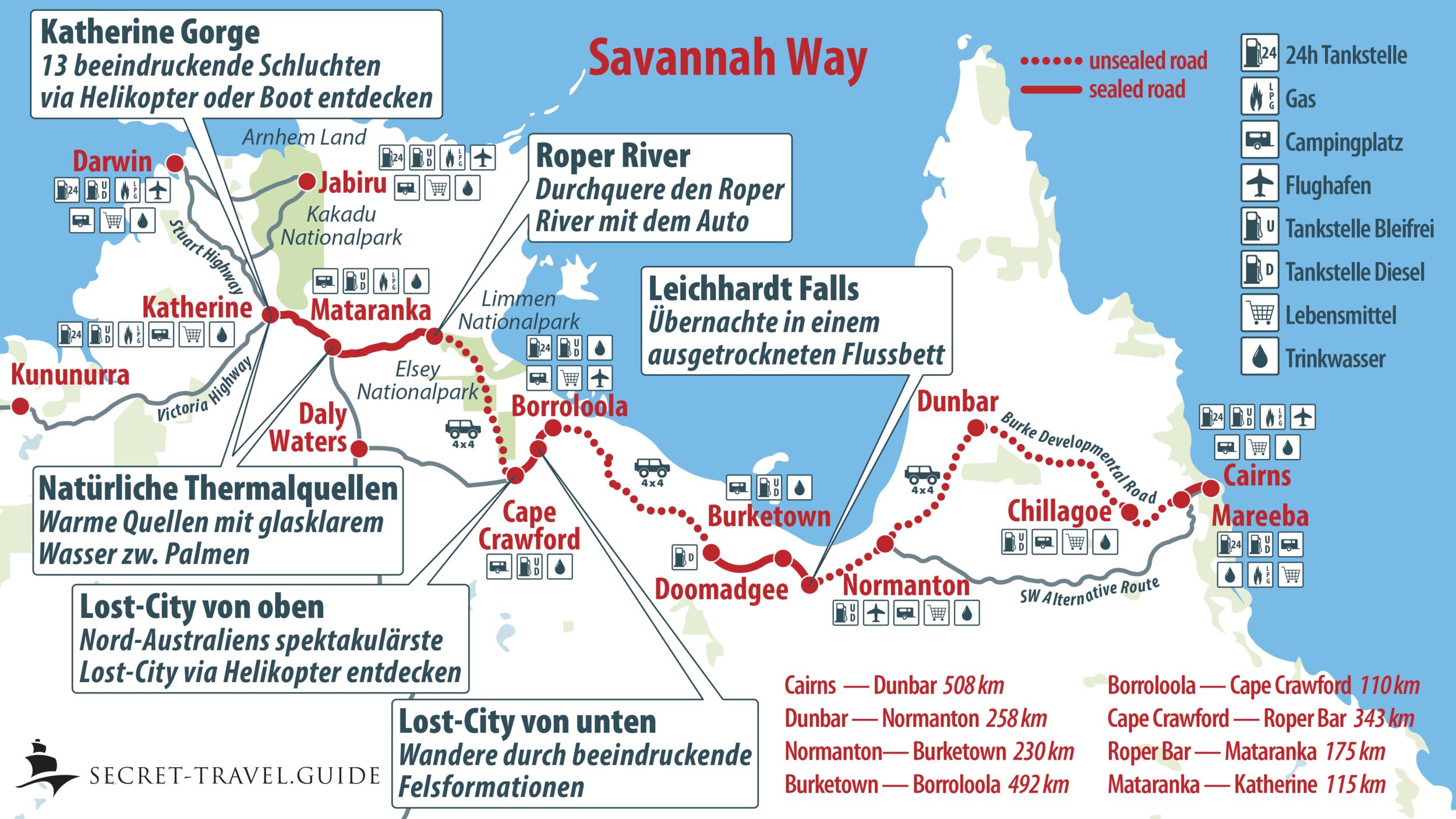 Übersichtskarte Savannah Way (Cairns to Katherine)
