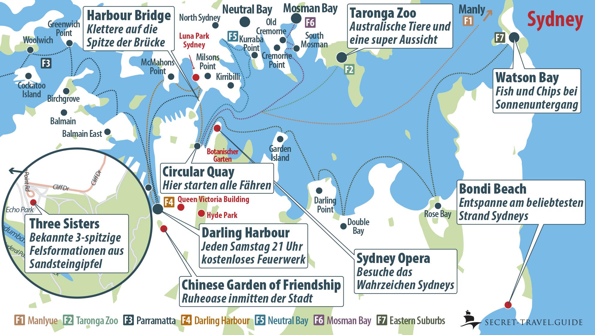 Sydney Karte mit Fähren