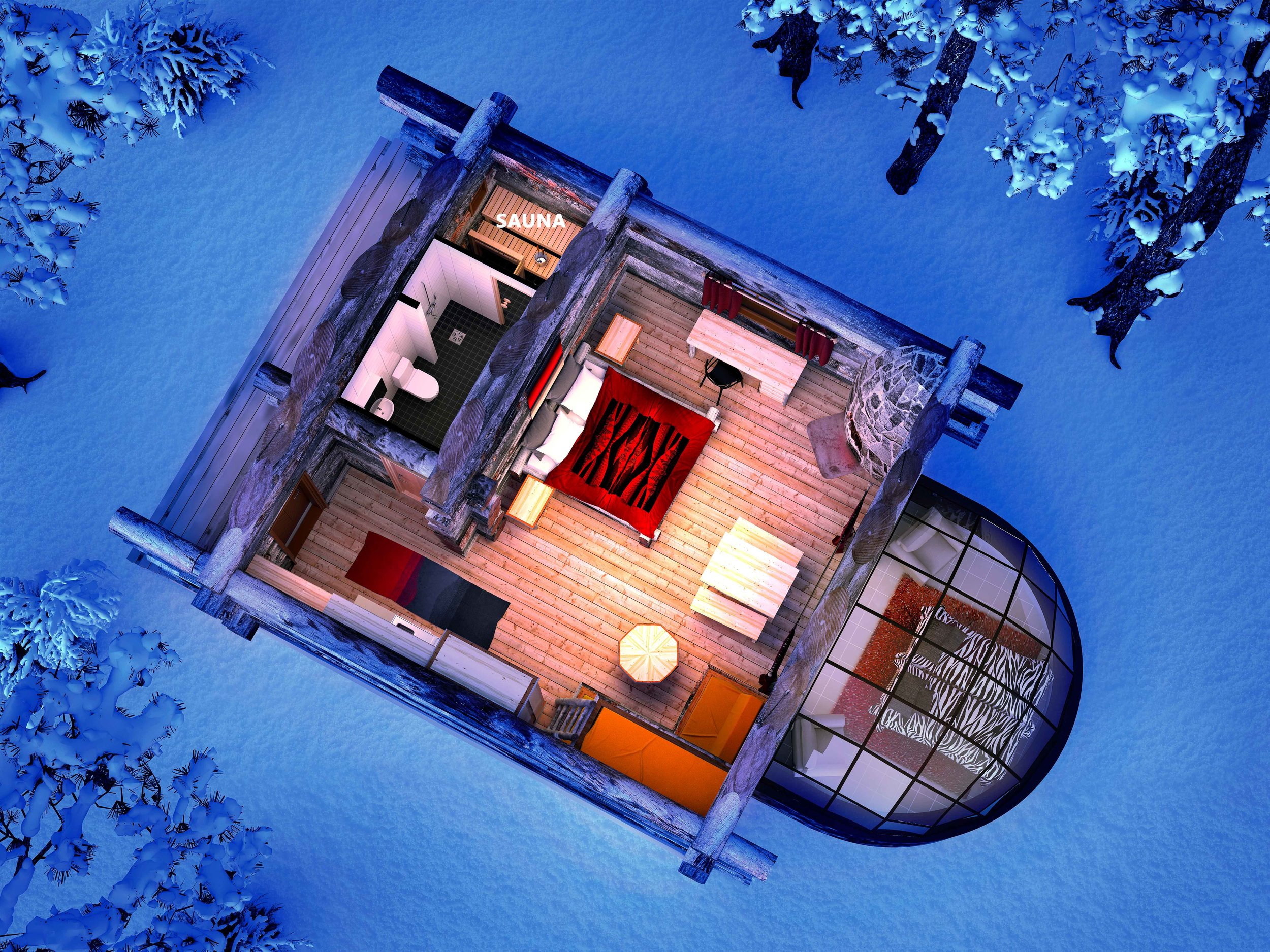Kakslauttanen Kelo-Glass_Igloo from above