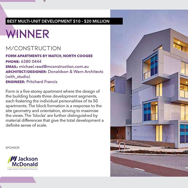 Very pleased our FORM project in North Coogee won the Best Multi-Unit Development $10-$20M category at the Master Builders Awards WA. Congratulations to M/Construction! @matchapartments  _ #matchapartments #myportcoogeelife #pertharchitecture #perthapartments #with_ #witharchitecturestudio #australianarchitecture #architecturewa