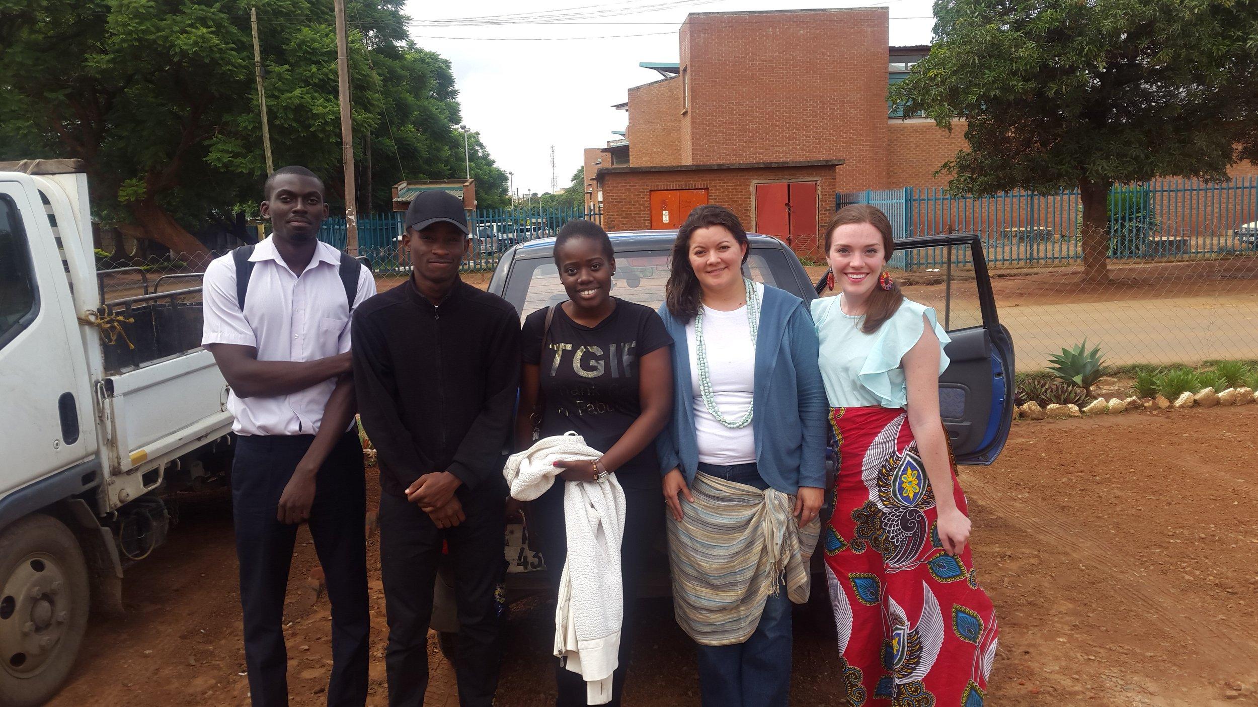 Megan with the UP Zambia team as they conduct interviews with juveniles incarcerated at Lusaka Central Prison. From Left to Right: Chawezi Ng'oma, Paul Kapianga, Chimbalanga Wapamesa, Sara Larios, Megan Keenan.